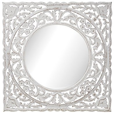 Carve firkantet speil 60 cm - Antikkhvit
