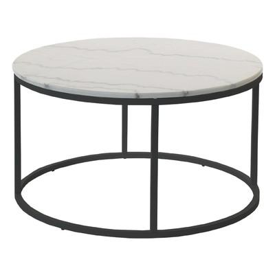 Accent sofabord rund 85 - Hvit marmor / sort understell