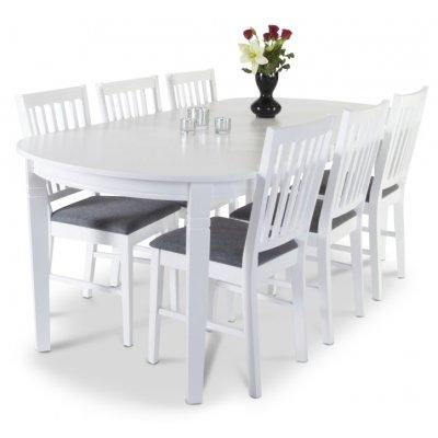 Sandhamn spisebord 160-200 cm - Hvit