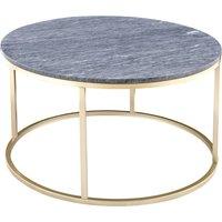 Accent sofabord rundt 85 - Grå marmor/messingfarget understell
