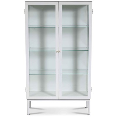 Cliff vitrineskap i metall (highboard) - Hvit / Klarglas