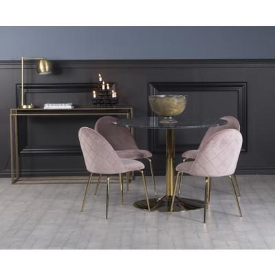 Plaza spisegruppe, marmorbord med 4 st Plaza fløyelstoler - Rosa/Grå/Messing