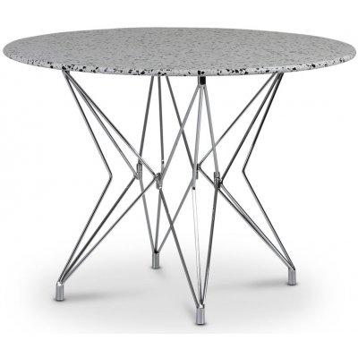 Zoo spisebord Ø105 cm - Krom / Terrazzo Cosmos