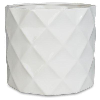 Krukke Romb H16 cm - Hvit