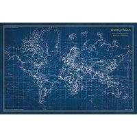 Glassbilde Map - 120x80 cm