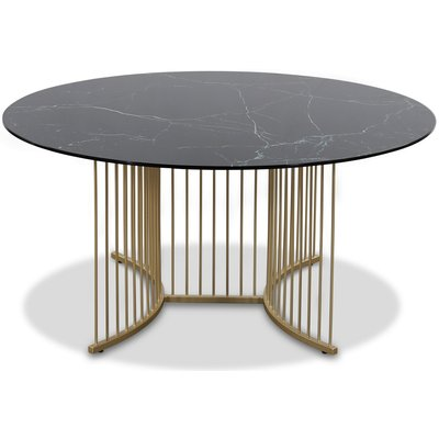 Tiffany Falcon sofabord - Messing / Sort marmorglass