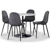 Tiana spisegruppe, rundt spisebord med 4 Carisma fløyelsstoler - Hvit/Grå