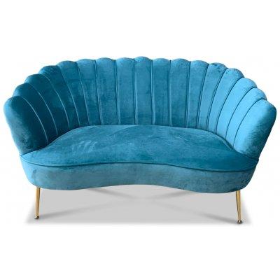 Snäckan 2-seter sofa - Turkis fløyel / Messing
