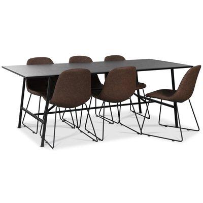 Toscana spisegruppe 206 cm bord + 6 stk Atlantic Sled stoler brun PU