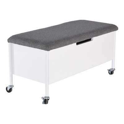 Sture sittebenk med hjul & oppbevaring 90 - Hvit