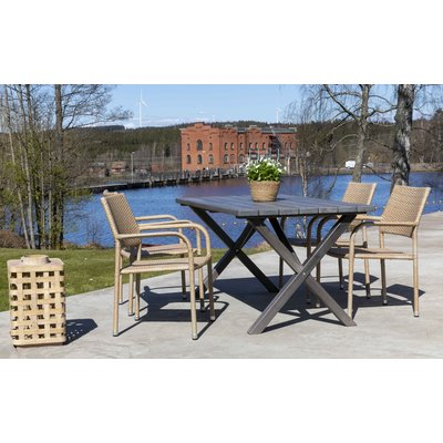 Scottsdale utespisegruppe med 4 stk karmstoler (stablebare) og spisebord 150 cm - Natur