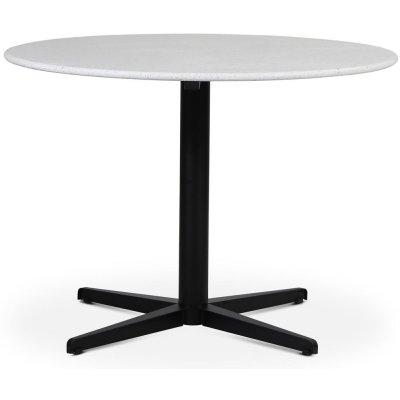 SOHO spisebord Ø105 cm - Matt svart kryssfot / Terrazzo Bianco