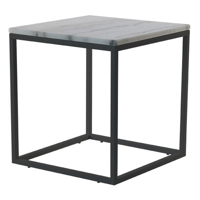 Accent sofabord 50 - Hvit marmor/svart understell