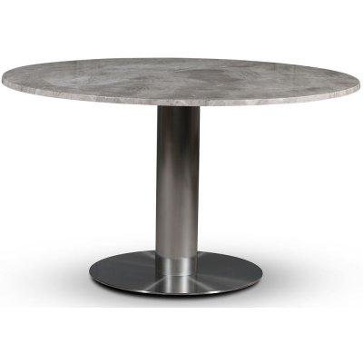SOHO spisebord Ø130 cm - Børstet aluminium / Sølvmarmor