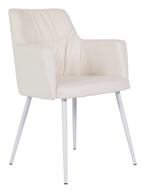 Mars stol i hvitt gjenvunnet lær Hvite ben 1795 NOK