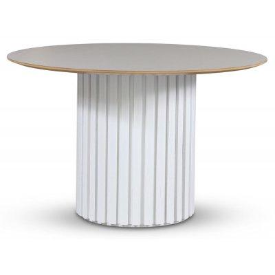 Empire spisebord - Perstorp lys virrvarr 118 cm / Hvit lamell trefot