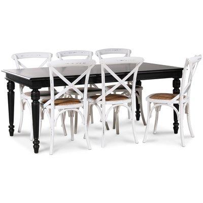 Paris spisegruppe 180 cm bord svart + 6 st hvite Gaston spisestoler