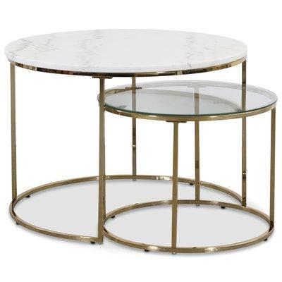 Tiffany satsbord - Hvit marmor / Messing