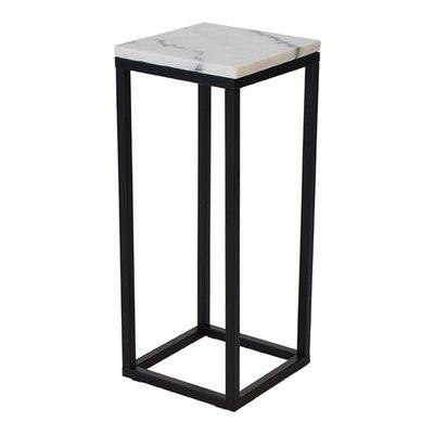 Accent nattbord/pidestal 65 - Hvit marmor / svart underdel
